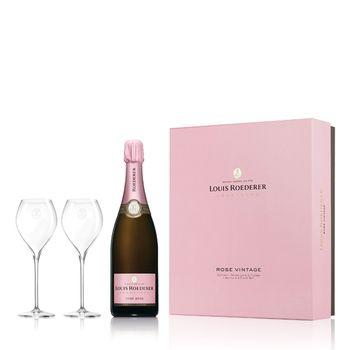 Champagne Louis Roederer Brut Rosé Vintage with 2 Flûtes